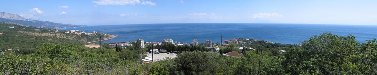 небольшая панорама черноморского побережья сделана по пути из храма в Форос
