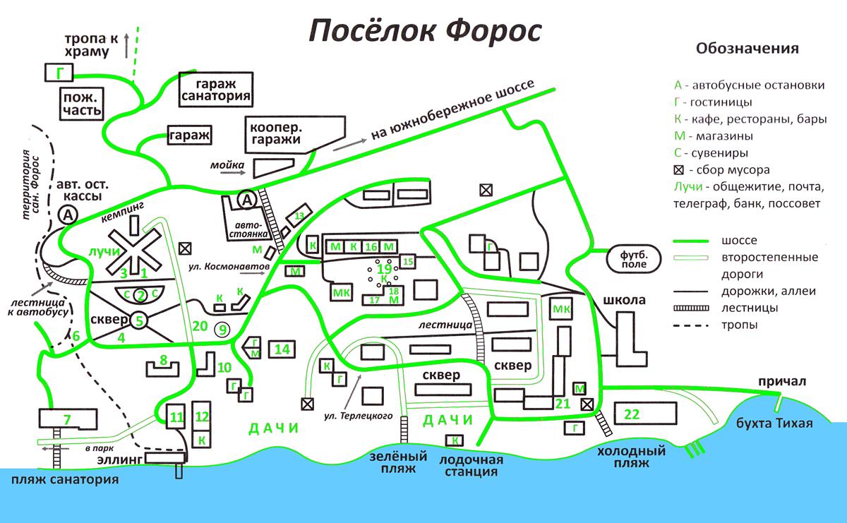 карта посёлка форос